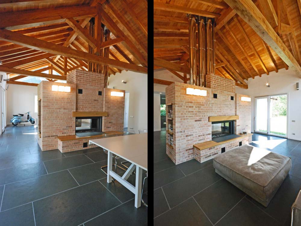WOODEN ROOF, STONE AND EXPOSED BRICK